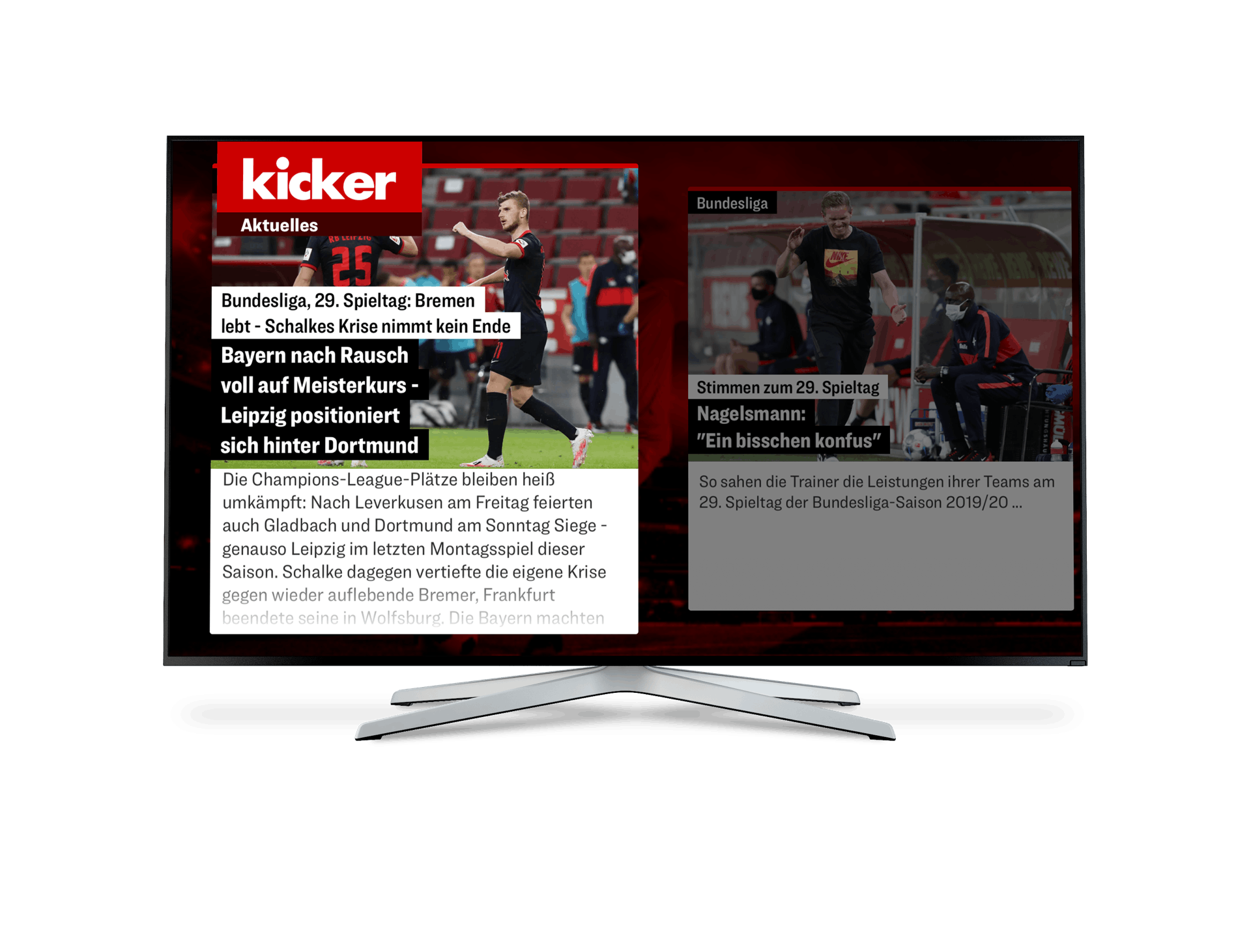 A TV displaying kicker's Smart TV app.